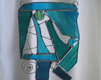 Shades of blue-green suncatcher - stained glass     SC2