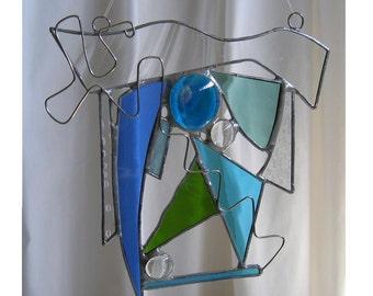 Blue Green Suncatcher - Stained Glass SC18   OOAK