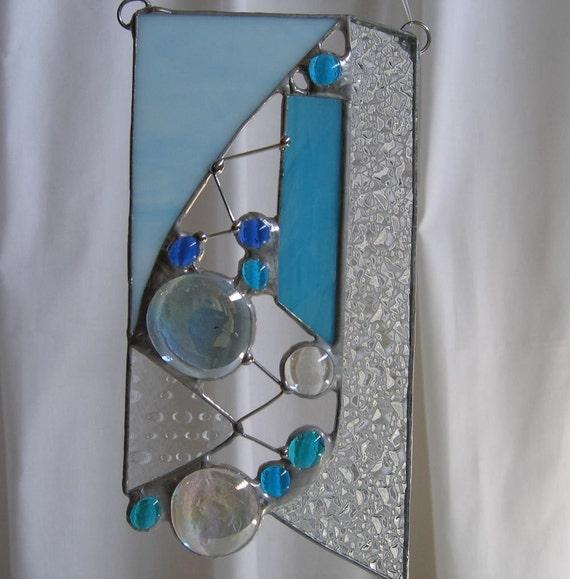 Blue Sparkle Suncatcher - Stained Glass SC22 OOAK