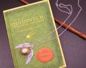 Golden Snitch from Harry Potter, movies and books, silver wings and chain, 27 inches