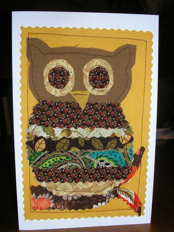 RESERVED FOR RESTITCHRETO Fabric Greeting Card Scrappy Owl