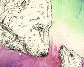 Mama Polar Bear and Cub Original ACEO Card