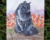 Black Cat Sitting Near a Goldfish Pond, Original ACEO Card- reserved for Nicole