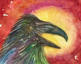 Raven and the Sun Original ACEO Card