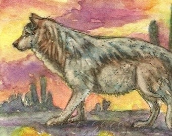 Mexican Wolf Original ACEO Card