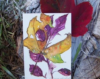 Leaves, Mustard and Plum, Original ACEO Card