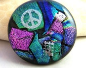 Blue Pink Turquoise DICHROIC Fused Glass CAB Cabochon 43 mm  Focal for Pendant or Wire wrapping