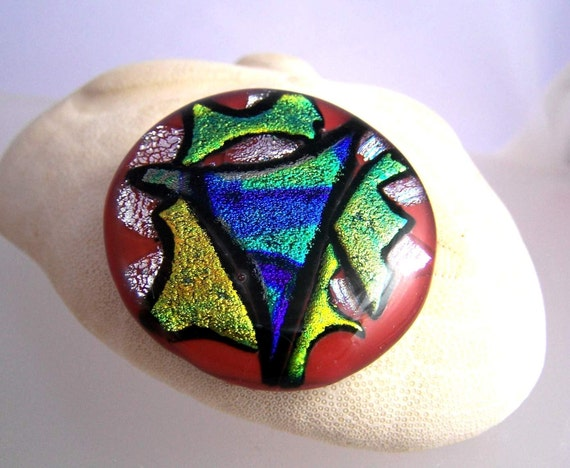Neon Yellow & Green  DICHROIC Glass CAB Cabochon 43mm OOAK Focal for Pendant or Wire wrapping