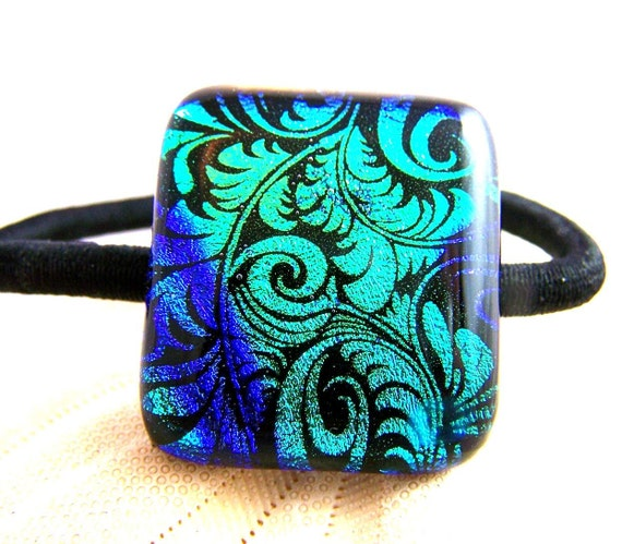 Blue & Green Dichroic Fused Glass - Hair Tie - Ponytail Holder-  OOAK Dichro glass- wearable Art