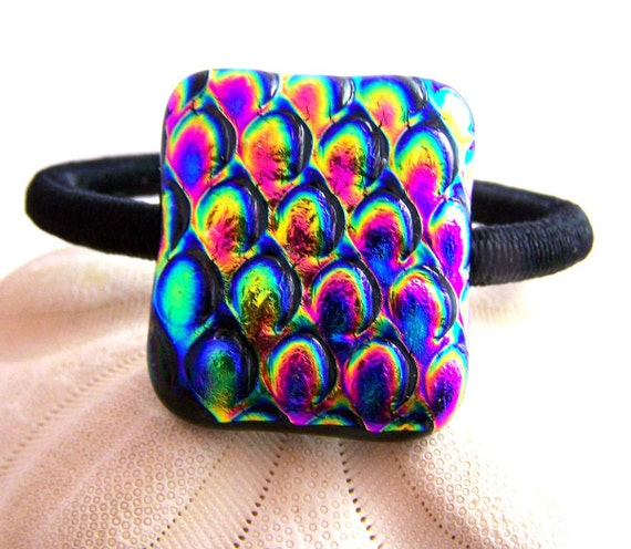Neon Colors-Dichroic Fused Glass - Hair Tie - Ponytail Holder-  OOAK Dichro glass- wearable Art--SALE--