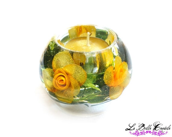 MOTHERS DAY SALE- Mini Yellow Rose Candle Holder