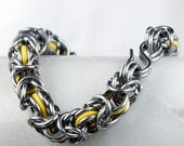 Thick Yellow - Chainmaille Bracelet - Byzantine