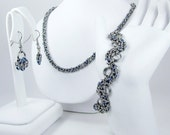 Blue Chainmaille Jewelry Set - Necklace, Bracelet, & Earrings