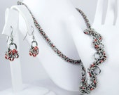 Orange Chainmaille Jewelry Set - Necklace, Bracelet, & Earrings