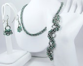 Green Chainmaille Jewelry Set - Necklace, Bracelet, & Earrings