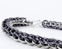Chainmaille Bracelet - Full Persian Pattern - Purple Titanium Chain