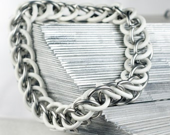 White - Chainmaille Bracelet - Stretchy Chain