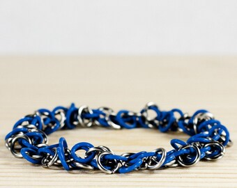 Blue Stretchy - Chainmaille Bracelet - Floppy