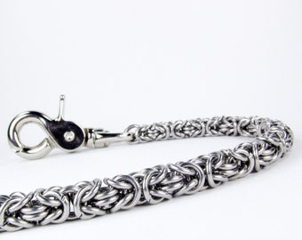 Chainmaille Wallet Chain - Stainless Steel Byzantine - Thick