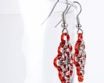 Orange - Chainmaille Earrings - Japanese Diamond Pattern