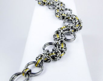 Chainmaille Bracelet - Yellow Byzantine Snake Style