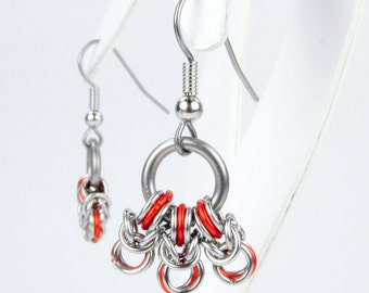 Orange Byzantine - Chainmaille Earrings