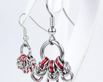 Red Byzantine - Chainmaille Earrings