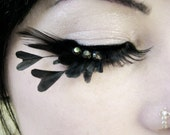 Heart of Darkness - Decadent Feather Eyelashes w/ Black Hearts and Swarovski Crystals - By Moonshine Baby