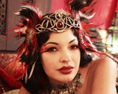 Aphrodite Crown - Gold Filigree Circlet Headdress with Red, Black & White Feathers - By Organic Armor and Moonshine Baby