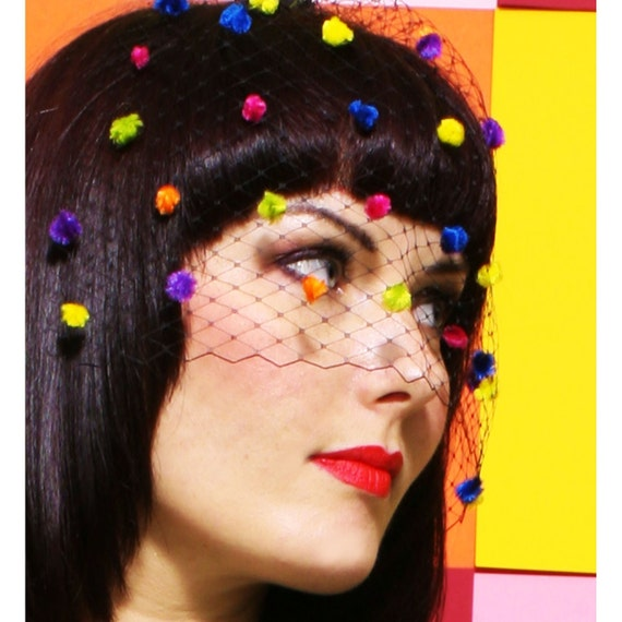 CANDY DARLING Birdcage Veil - Black w/ Rainbow Confetti Dots / Carnival / Pride / 1940s Revival / Day of the Dead - by Moonshine Baby