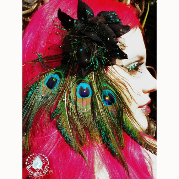 Rozita Black Peacock Rose Feather Fascinator Brooch Combo - By Moonshine Baby