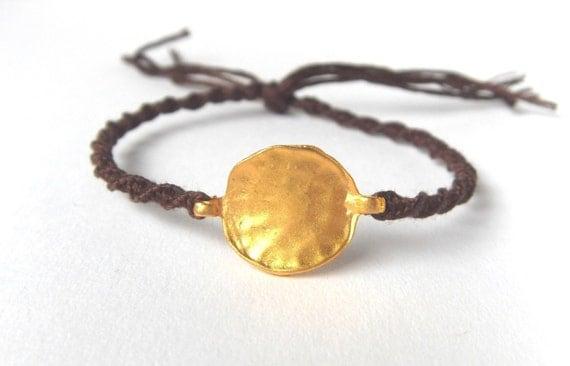 Gold Hammered Disc Bracelet