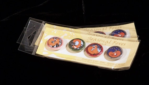Seasonal Foxes- 4 piece magnet pack