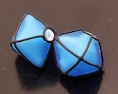 Glass Lampwork SRA Beads Handmade Aqua Blue Etched Crystals Black Earring Pair Lampwork Heather Behrendt BHV LETeam