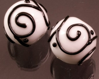 Black Scrolls White Rounds Earring Pair Handmade Lampwork Beads Heather Behrendt BHV SRA LETeam