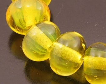 Glass Handmade Lampwork Beads Bright Yellow Round Spacers Heather Behrendt (947) BHV SRA LETeam