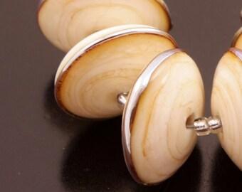 Disc Bead Set Handmade Lampwork Beads Metallic Ivory Cream Heather Behrendt BHV SRA LETeam
