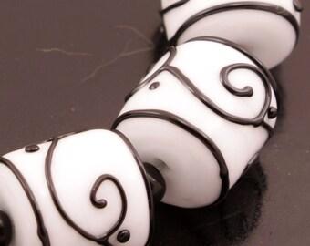 Black Scrolls White Barrels SRA Bead Set Handmade Lampwork Beads Heather Behrendt BHV LETeam