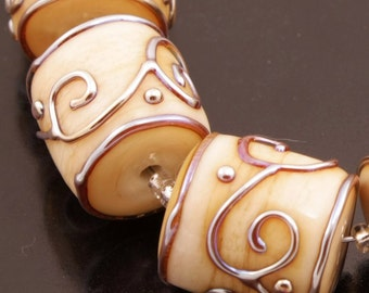 Cream Lampwork Beads Metallic Scrolls Handmade Ivory Barrels Bead Set Heather Behrendt  BHV SRA LETeam