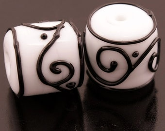 Lampwork Bead Pair Handmade Art Glass Black Scrolls White Barrels Earring Beads Heather Behrendt BHV SRA LETeam