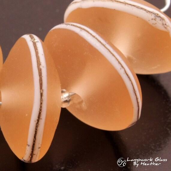 Etched Discs Bead Set Lampwork Handmade Beads Sea Glass Rose Pink Ivory Heather Behrendt BHV SRA LETeam