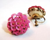 Vintage Pink Sequin and Beaded Earrings / Screw Back / Clip/ iridescent