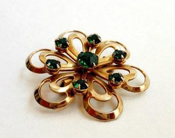 Vintage Rhinestone Brooch, Emerald Green Rhinestones, Gold Tone Metal, Jewelry, Costume Jewelery, May Birthday Brooch Pin