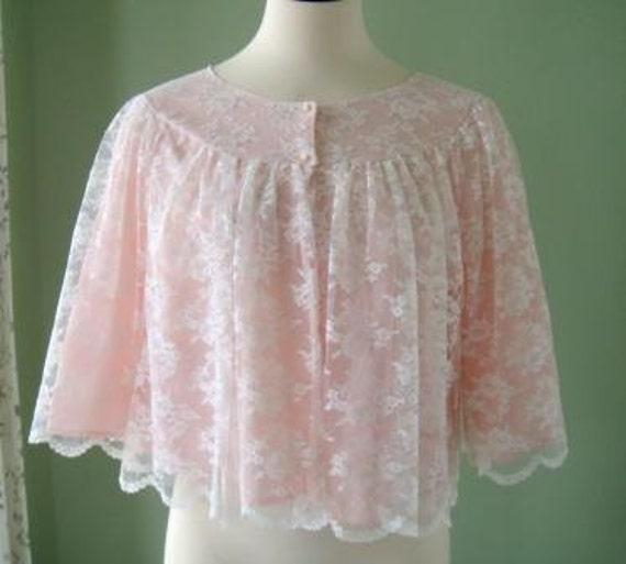 Lace Bed Jacket Vintage Nanette White Lace Over Pink Bed