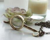 Through the Looking Glass Necklace -  Inspired by Lewis Carroll's Alice's Adventures in Wonderland.  Magnifying Glass. Sherlock Holmes.  Watson Mystery Murder Dinners
