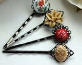Floral Wonderland No.3 - Sweet Flower and Cameo Hair bobby Pins/ Hair Clips - LAST ONE
