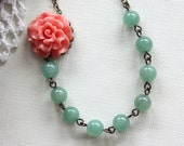 Nicolasa II - A Peachy Coral Ruffled Rose Flower, Green Aventurine Gemstone Necklace. Spring Inspired. Bridesmaid Necklaces. Gifts for Mom..