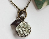 A Tinge of Grey Green. A Dreamy Romantic Flower Necklace. Wedding Jewelry. Bridesmaid Necklaces.
