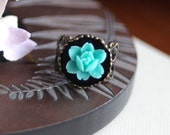 A Turquoise Blue Green Six Petal Rose Flower Crown Art Nouveau Antiqued Bronze Lacy Filigree Ring. For Her. Bridesmaid Ring.