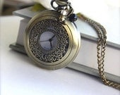 A Rabbits Large Pocket Watch Vintage Style Brass Necklace - Alice in Wonderland Movie inspired. Vintage Style. A Mad Hatter Pocket